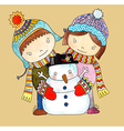Watercolor snowman with boy and girl vector image vector image