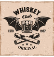 whiskey glass with wings and cigars emblem vector image vector image