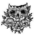 with a human skull and flowers vector image vector image