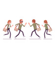 young red-haired man and woman running vector image vector image