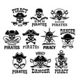 pirate or jolly roger icons set vector image