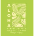 Aloha typography with palm leaves for t-shirt vector image