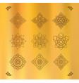 set of thai art design on gold cloth vector image