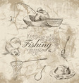 keep fishing sketch vector image