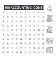 accounting editable line icons 100 set on vector image vector image