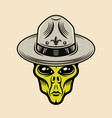 alien head in boy scout hat colorful object vector image vector image