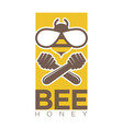 bee honey logo design with two crossed dippers and vector image vector image