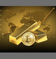 bitcoin and two gold bars on dark background vector image vector image