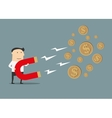 Businessman catching money with magnet vector image vector image