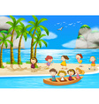 Children and beach vector image vector image