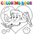 coloring book with heart and cupid vector image vector image