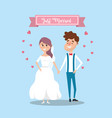 couple married with ribbon and hearts design vector image vector image