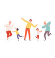 cute dancing family elderly adult and children vector image vector image