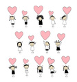 Cute girls with valentine hearts for your design vector image vector image