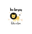 cute lion and lettering vector image vector image