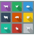 Fashionable varicolored flat icons with long vector image