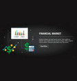 financial market banner internet with icons in vector image