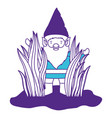 gnome coming out of the bushes on color sections vector image vector image
