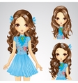 Hairstyle Girl In Blue Skirt vector image