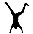 handstand man doing cartwheel exercise silhouette vector image vector image