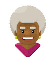 happy old woman with curly white hair flat vector image vector image