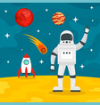 hello from spaceman concept background flat style vector image