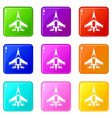 jet fighter plane set 9 vector image vector image
