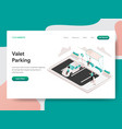 landing page template valet parking concept vector image