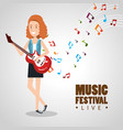 music festival live with woman playing electric vector image