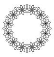 outline flowers circle frame design monochrome vector image vector image