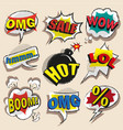 pop art comic speech bubble set vector image