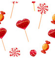 seamless background with various red candies vector image