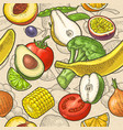 seamless pattern fruits and vegetable vector image