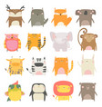 set cute animals on white background vector image vector image