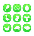 set of farm and agriculture icons in green color vector image
