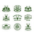 set outdoor camping badges with deer head vector image