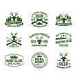 set outdoor camping badges with deer head vector image vector image
