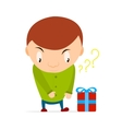 Small boy wants to take a gift box with bow and vector image vector image