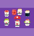 sushi and sashimi cartoon characters set cute vector image vector image