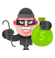 thief with a bag of money running from vector image vector image
