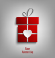 Valentine card with red gift and heart template vector image vector image