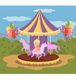 vintage carousel with horses amusement park vector image