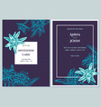 wedding invitation card with blue edelweiss vector image vector image