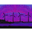 wind turbine sunset background ecosystem for vector image vector image