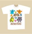 t-shirt print design cartoon cute monsters vector image