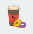 Coffee and donut vector image