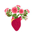 anatomical pink doodle heart with flowers vector image vector image