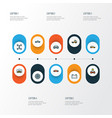 auto icons colored line set with prime-mover vector image vector image
