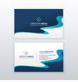 awesome blue wavy business card design for your vector image vector image