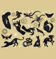 black silhouette mystery or mythological animals vector image